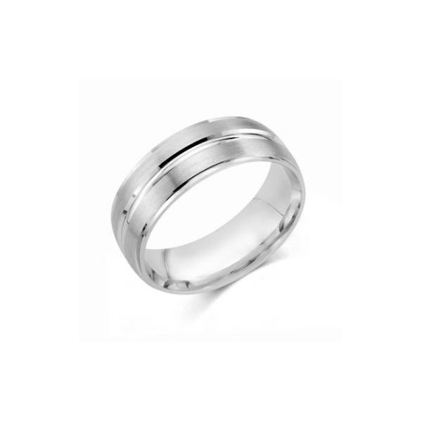 8mm Engraved Sterling Silver Wedding Band